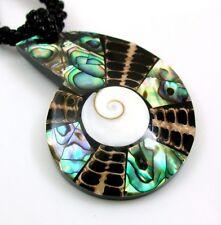 "Handmade Paua Abalone Shell Shiva Eye Pendant 19"" Beads necklace Jewelry AA284"