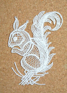 Animals - Squirrel - sew-on lace motif/applique/patch/craft/card making