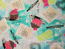 CUP CAKES BAKING RECEIPES HOT PAD ROLLING PIN CUPCAKES BAKE COTTON FABRIC FQ