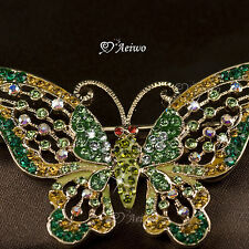 18K YELLOW GOLD GP MADE WITH SWAROVSKI CRYSTAL BUTTERFLY PIN BROOCH