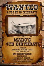 WANTED Posse Custom Designed Birthday Party Invitation Add Photo Western