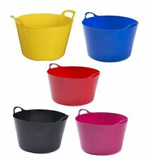 COLOR FLEXI TUB WITH HANDLE BUILDER BUCKET TRUG CONSTRUCTION CONTAINER BUCKET