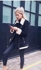 Zara AW16 Oversized Suede  Aviator Biker With Fur Size M Uk 10 Genuine Zara