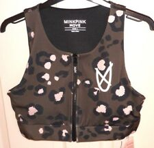 MINKPINK MOVE Camouflage Zip Front Sports Top Size L - with Built-in Cups- BNWT