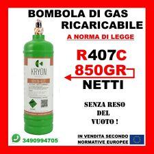 BOMBOLA DI GAS REFRIGERANTE R407C 1KG NETTO 850GR RICARICABILE SENZA RESO VUOTO