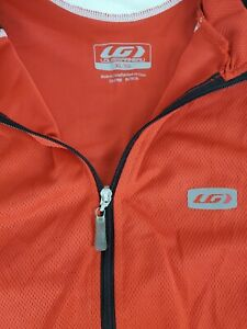 Louis Garneau Cycling Jersey Mens Red Black Full Zip 3 Pocket Jersey Size XL