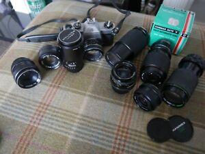 Pentax Spotmatic F joblot of lenses M42 & Bayonet Takumar 28mm 135mm et al