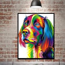 Colorful Dog Canvas Wall Art Print Oil Painting Home Office Decor Unframed