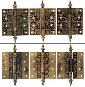 """Three Unused Eastlake Victorian Brass Hinges - 4 1/2"""" x 4 1/2"""" - mjdtoolparts"""