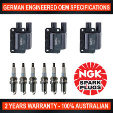 6x Genuine NGK Platinum Spark Plugs & 3x Ignition Coils for Mitsubishi 3000GT JF