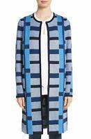 $1,695 St. John Women's Coat Size 6 Niagara Colorblock Knit Topper Cardigan