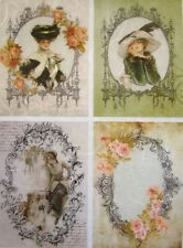 Rice Paper for Decoupage Scrapbook Craft Woman Frame Flowers 21