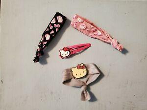 4pc  Girls Hair Accesories Lot Hello Kitty Clip Barrette Hair Ties Sanrio Pink