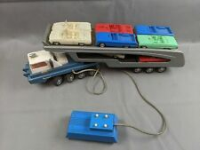 Vintage Japan Battery Operated Car Carrier Toy with Cars, Pressed Metal