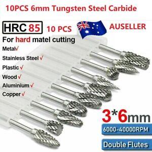 6mm Head Tungsten Steel Carbide Rotary Burr Bur Die Grinder Bit Set 10pcs