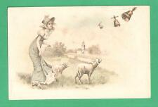 EARLY VINTAGE MEISSNER & BUCH EASTER ART POSTCARD LADY LAMBS LEASH BELLS CHURCH