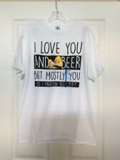 The Simpsons Mens White I Love You & Beer Homer T-Shirt Size Large
