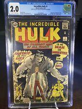 INCREDIBLE HULK #1 CGC 2.0 OW/W 1962 Avengers 12¢HOLY GRAIL Marvel Comics