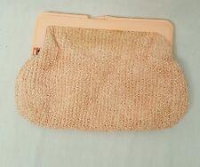 Vtg Art Deco Bakelite plastic celluloid pink Womens Purse carpet bags of America