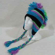 Justice Girls Sparkle Winter Hat Cap Fringe Mohawk Braids Blue Purple Green