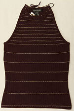 New Guess Sleeveless Knit Tank Top Brown With Metallic Silver Thread Size Small