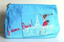 LANCOME J'aime Paris! Blue Large Travel Makeup Case Cosmetic Bag Clutch