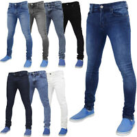 Mens Skinny Jeans Slim Fit Super Stretch Denim Basic Pants All Waist & Leg Sizes