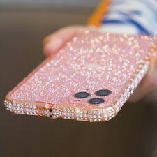 For iPhone 11 Pro Max Girls Women Diamond Case Metal Bumper Cover+Bling Sticker