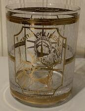 Vintage Culver 22kt Gold Statue of Liberty Rocks Glass