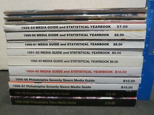 LOT OF 13 PHILADELPHIA 76'ERS MEDIA GUIDES FROM 1983-1999 EXCELLENT/NEAR MINT