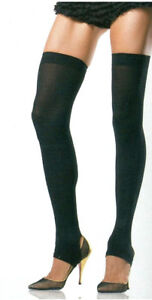 Women's Leg Warmers Stirrup Thigh High Footless Reg Size Black Leg Avenue 6310