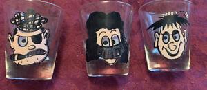 """Vintage 1950's Set Of 3 Printed Shot Glasses - """"so-delightful"""" — cool !!"""
