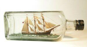 NICE ANTIQUE MODEL SHIP IN A BOTTLE