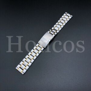 18 MM Steel and Gold Bracelet Watch Band Strap Replacement High Quality Vintage