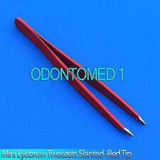 "New 3.5"" Eyebrow Tweezers SLANTED Precision Tip - SOLID CLASSIC Design,Red"