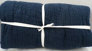 Pottery Barn Belgian Flax Linen Handcrafted Quilt King Cal King Midnight #9598
