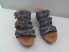 Romika slip on leather wedge/platform open sandal 3 adjustble straps size 5