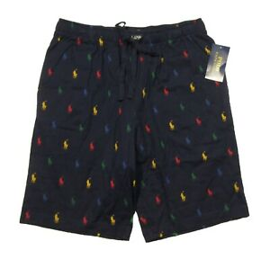 Polo Ralph Lauren Men's Navy All Over Multicolor Pony Print Cotton Sleep Shorts