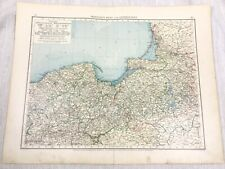 1896 Antique Map of Prussia Baltic Sea Coast Germany Empire German 19th Century