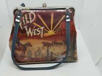 "Vintage Nocona Designer ""Wild West"" Horse Fabric/Denim Handbag Shoulder Rare"