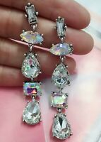 White Glass Crystal Ear Drop Dangle Stud Ancient Silver long Tassels Earrings