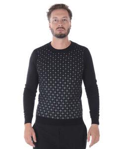 Maglia Maglione Daniele Alessandrini Sweater Lana Uomo Nero FM61121APD3706 1