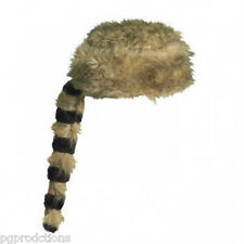 Funny RACCOON HAT Tail Fake Fur Costume Cap Adult Davy Crockett Daniel Boone NEW