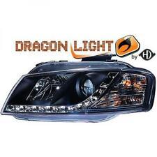 COPPIA FARI Proiettore Lhd LED Drago Nero Chiaro Per Audi A3 03-08