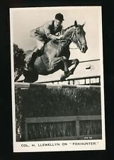 Horses Show Jumping Col. H. Llewellyn on FOXHUNTER c1950s RP PPC by Valentine