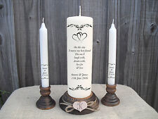 Personalised Wedding Unity Candle Set Gift Keepsake Hearts Poem Centrepiece
