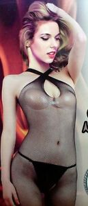 Sexy Black Roleplay Halter Fishnet Crotchless Body Stocking One Size HDL29