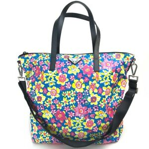 PRADA B4696F Triangle Logo Plate Flower pattern Shoulder Bag Tote Bag Multicolor