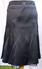 Karen Millen black satin bias cut 40s skirt with tulle detail UK 8 BNWT RRP £120