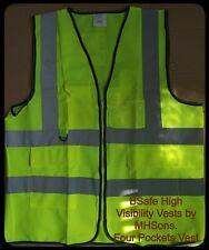 BSafe Hi Vis Viz Executive Vest High Visibility With Phone & ID Pockets Yellow